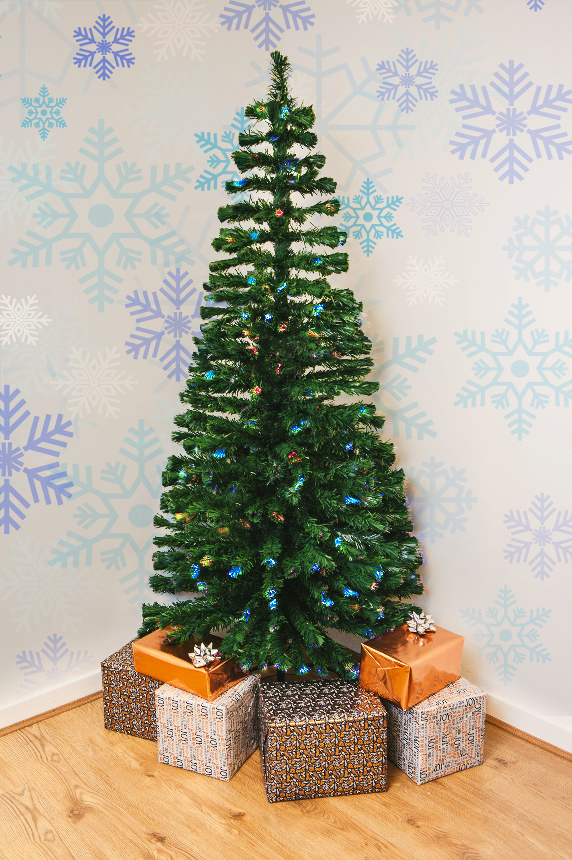 CHRISTMAS 7FT FIBRE OPTIC XMAS TREE LIGHTS PRE LIT MULTI COLOUR ...