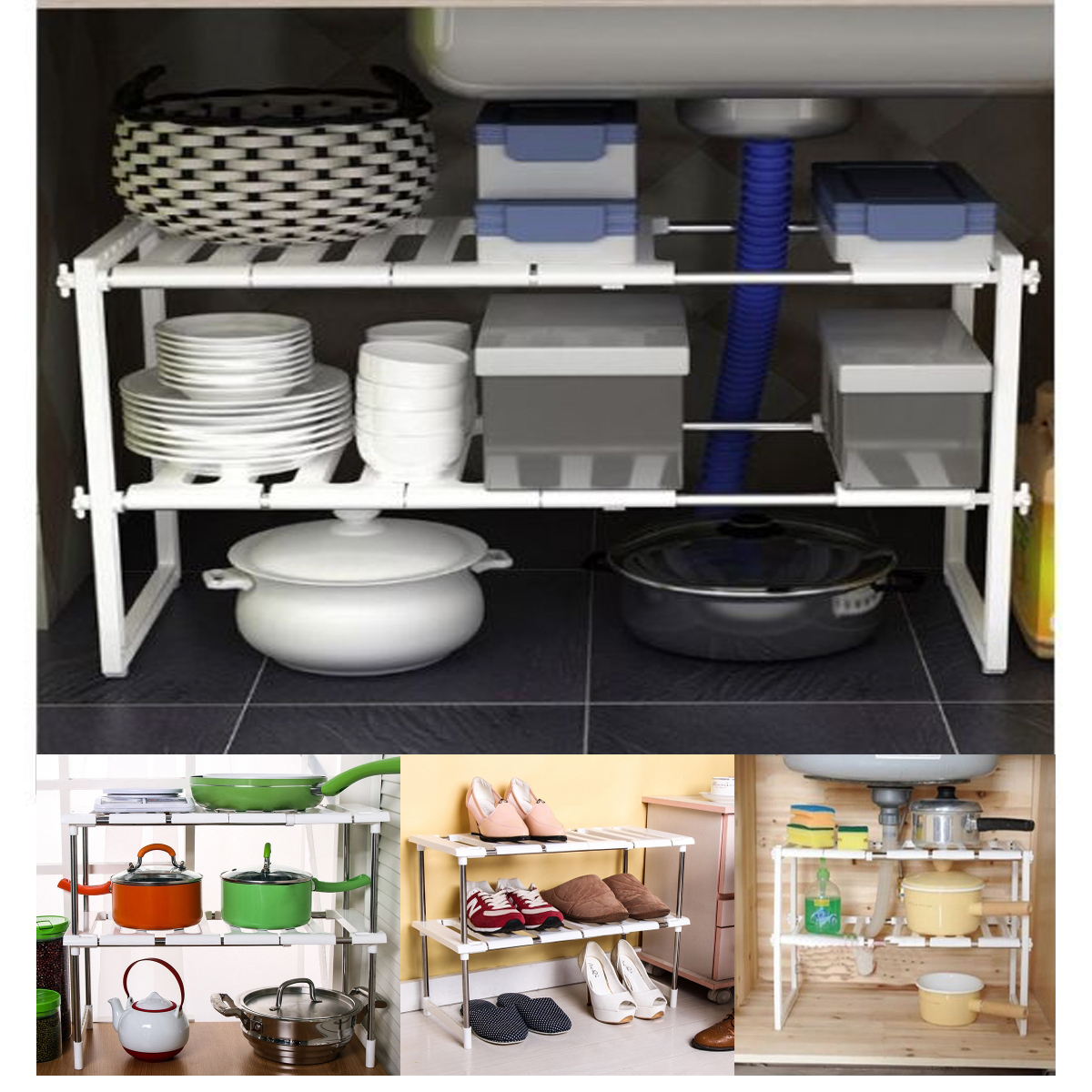 Under Sink Kitchen Rack Organiser Adjustable Shoe Storage