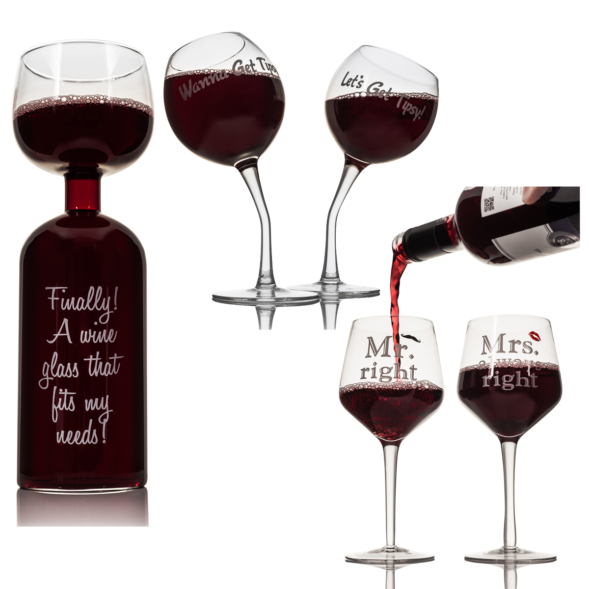d15637cba0 Details about MR   MRS ALWAYS RIGHT   TIPSY   WINE BOTTLE GLASS DRINKING  GLASSES XMAS GIFT