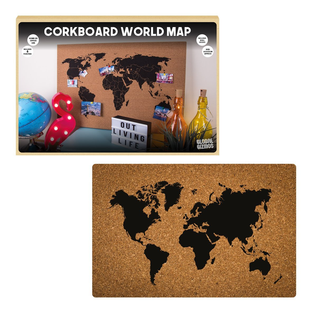 Corkboard world map wall atlas cork memo board including 6 pins corkboard world map wall atlas cork memo board including 6 pins home60 x 40cm gumiabroncs Choice Image