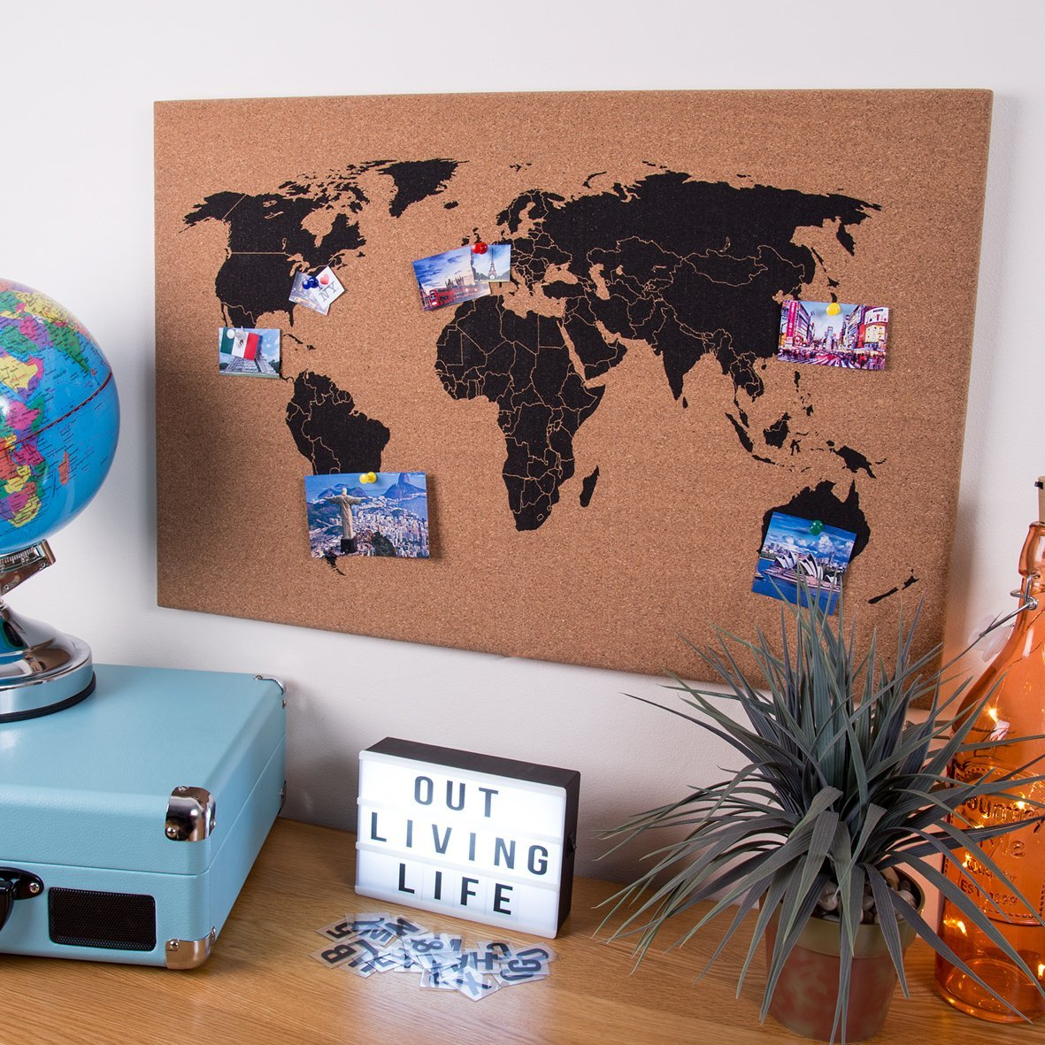 Corkboard world map wall atlas cork memo board including 6 pins corkboard world map wall atlas cork memo board including 6 pins home60 x 40cm gumiabroncs Image collections