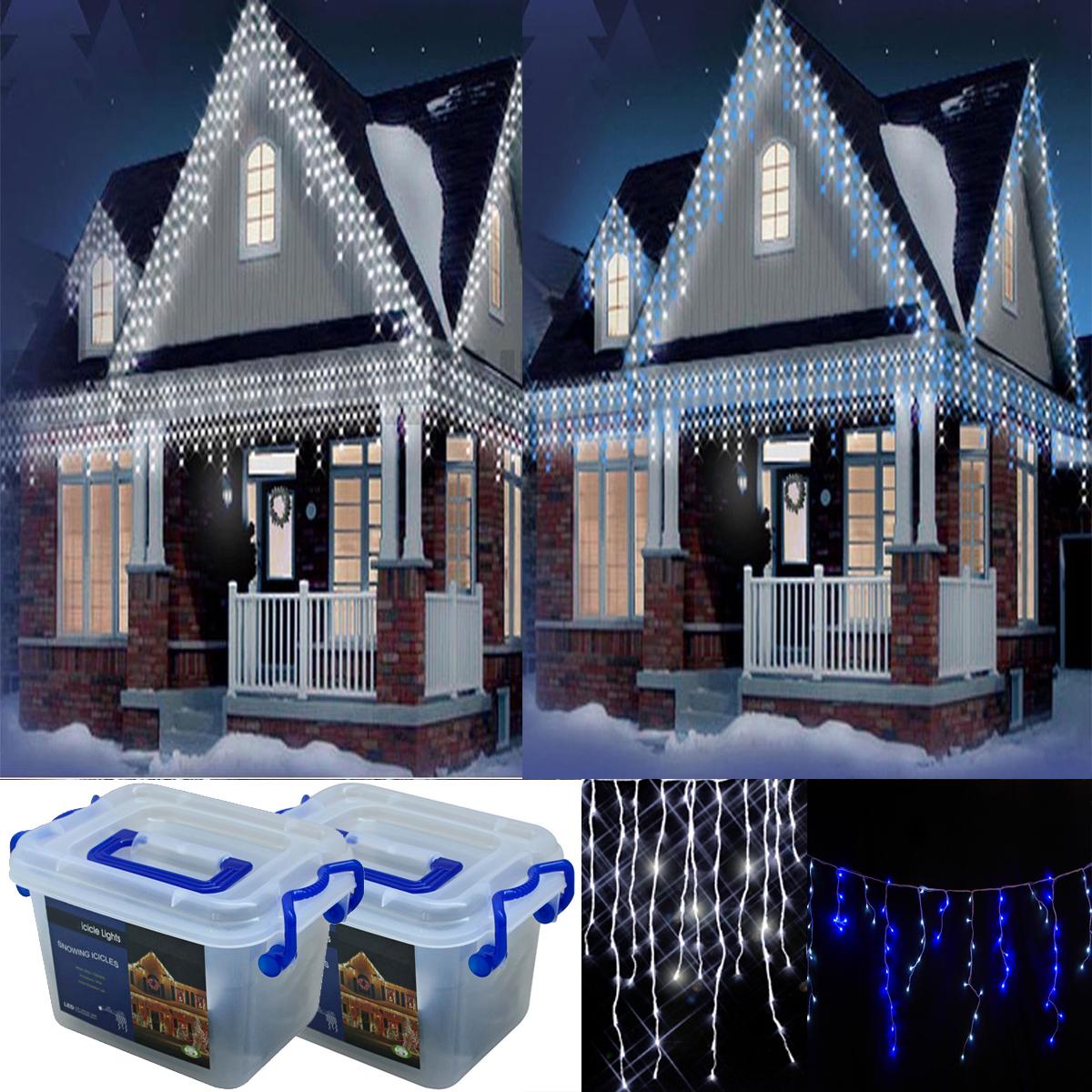 Snowing Christmas Lights.Christmas 720 White Blue White Icicle Led Xmas Snowing