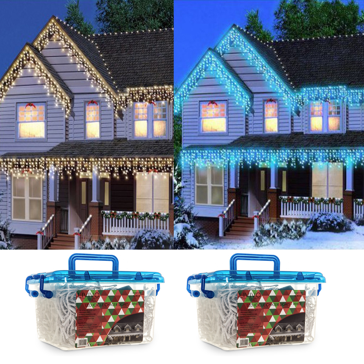 Snowing Christmas Lights.Details About Christmas 480 720 960 1200 Led Icicle Snowing Xmas Chaser Lights Outdoor In Tub