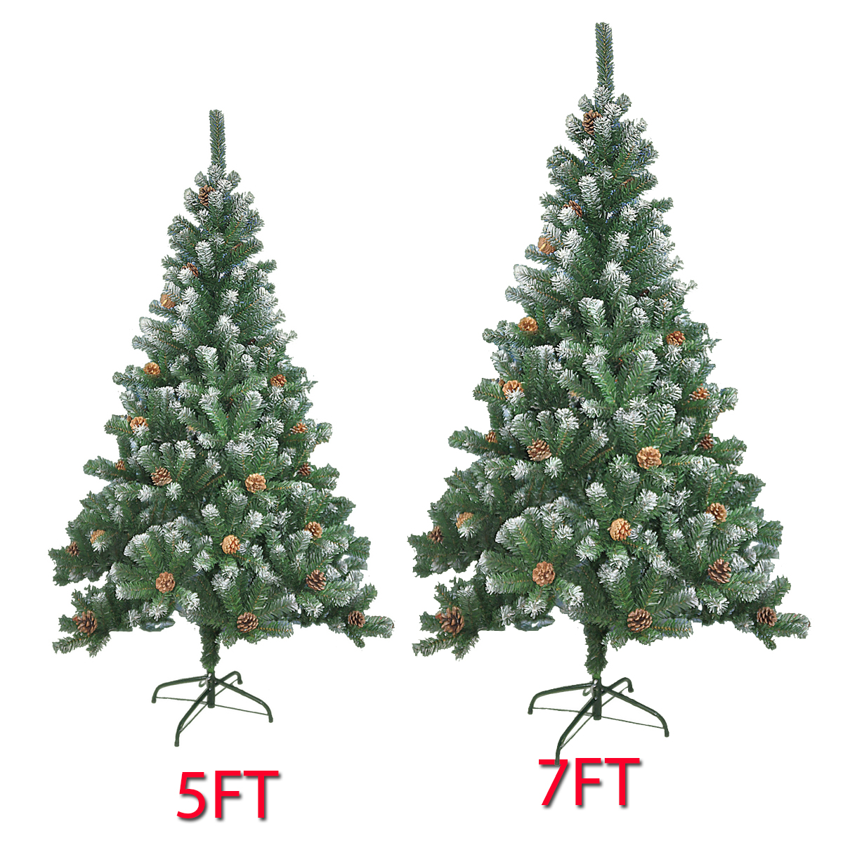 check out 47927 97c26 Details about 5/6/7FT LARGE ARTIFICIAL CHRISTMAS TREE SNOW & CONES  REALISTIC XMAS DECORATION