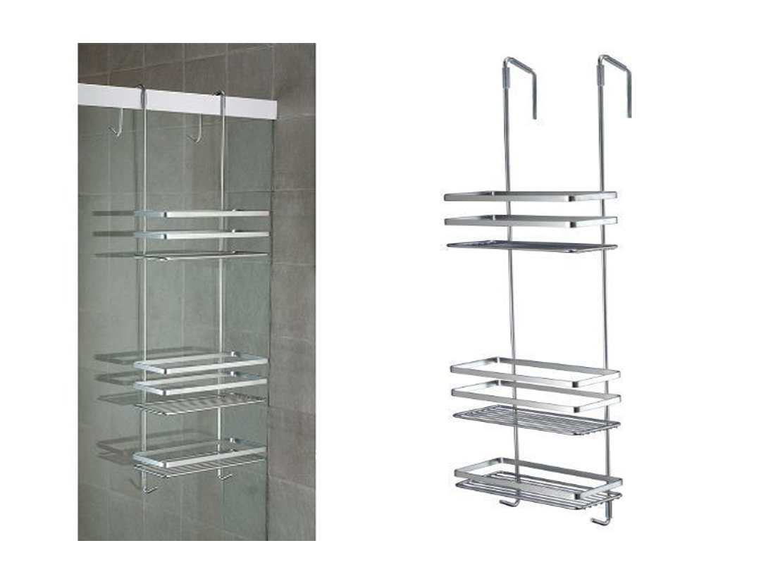 LIVIVO 3 TIER CHROME OVER DOOR SHOWER BATHROOM ORGANISER RACK TIDY ...