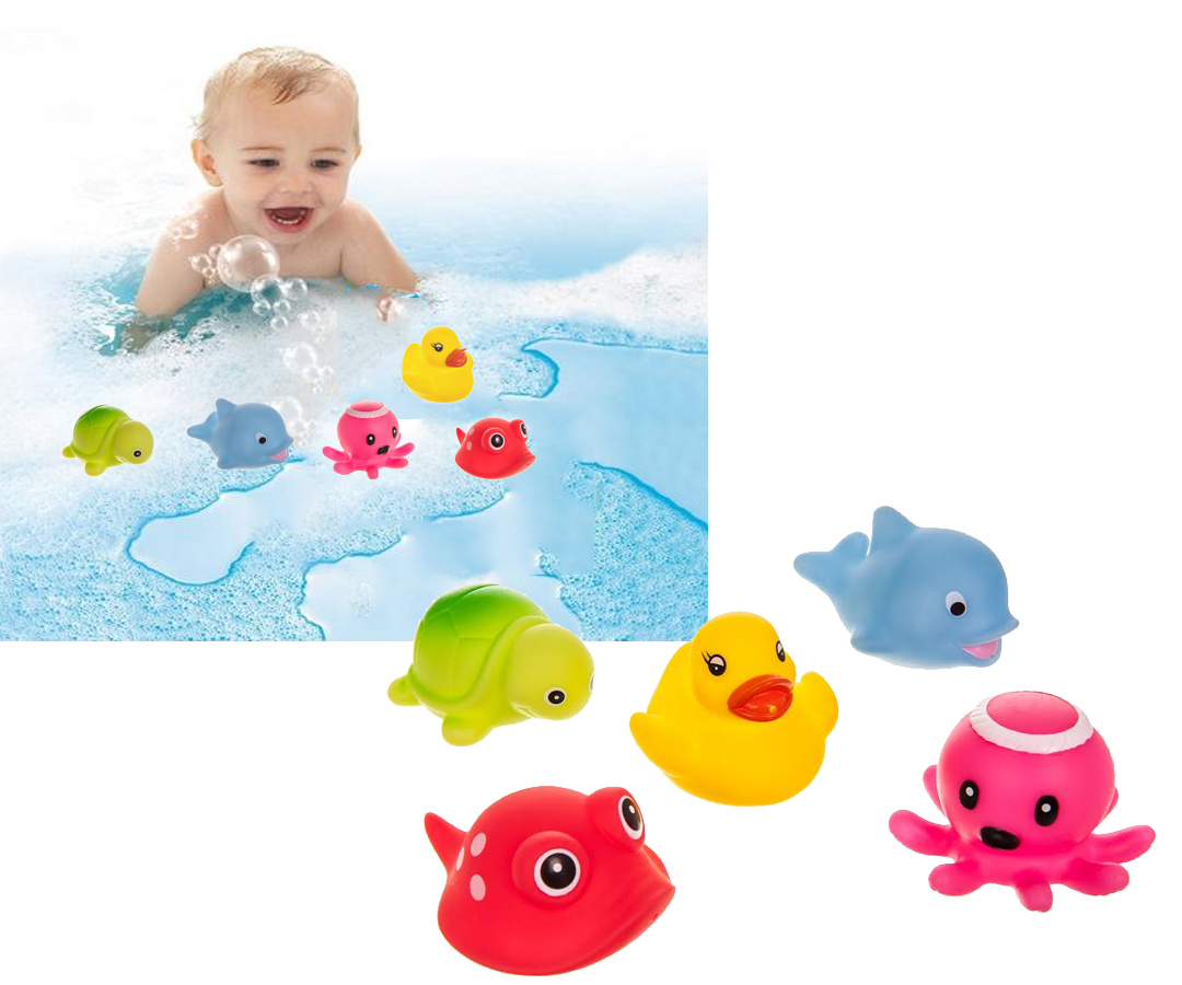 5PC BATH TIME BABY INFANT RUBBER SEA PALS WATER TOYS SQUIRT DUCKS ...