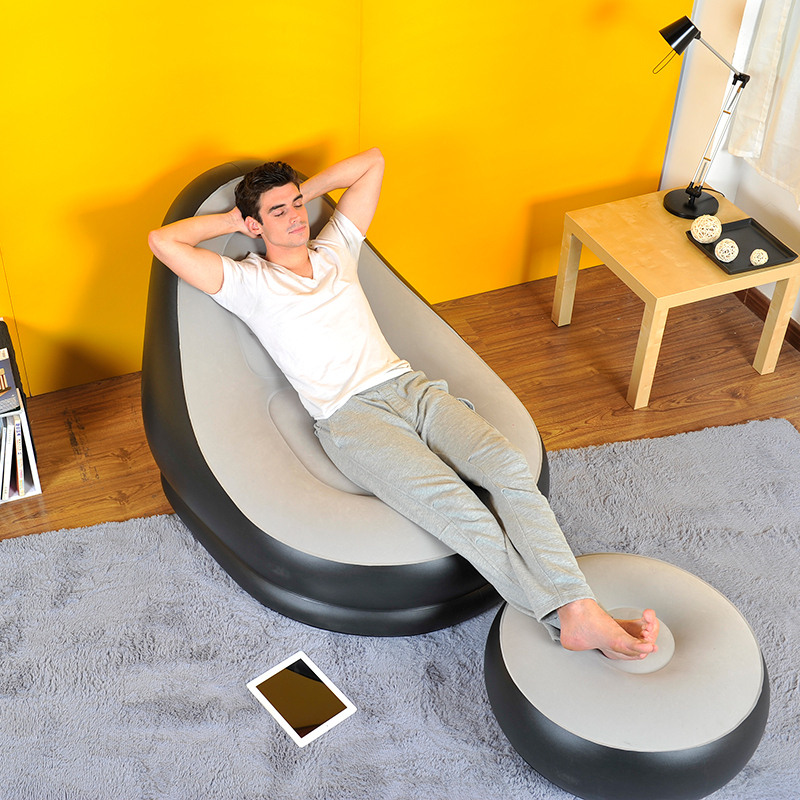 inflatable deluxe lounge lounger chair with ottoman foot stool seat relax couch 5053878515362 ebay. Black Bedroom Furniture Sets. Home Design Ideas