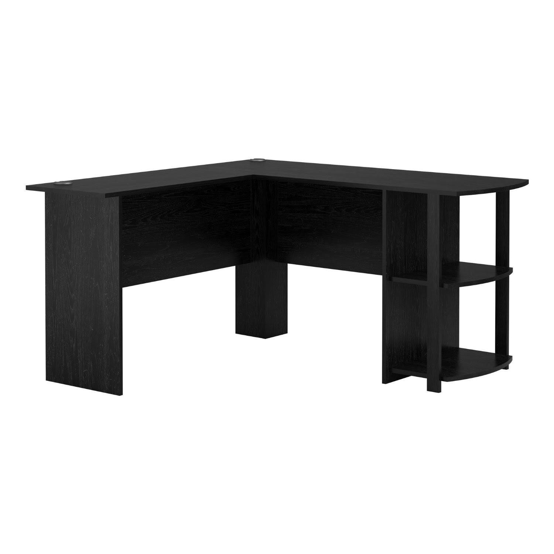 livivo l shape black office computer desk with book shelves wooden corner table ebay. Black Bedroom Furniture Sets. Home Design Ideas