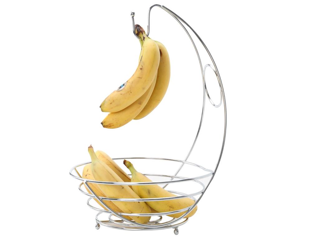 Chrome Banana Hanger Tree Holder Fruit Bowl Hammock