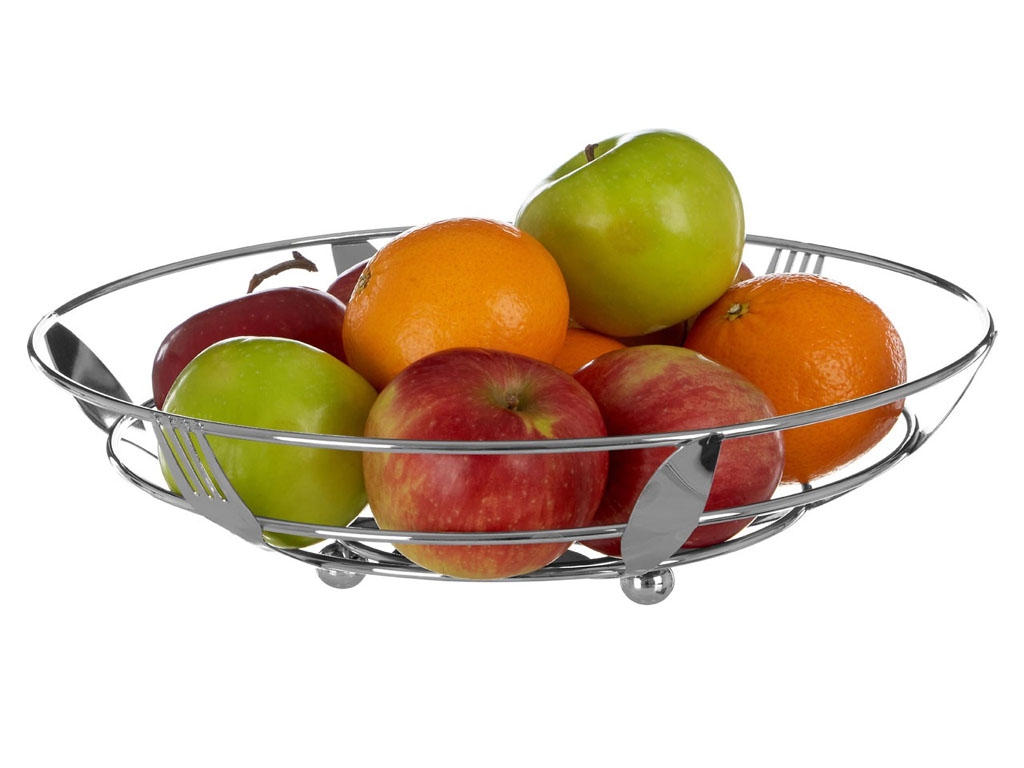 Foodesign Fresh Fruit Basket: CHROME FRUIT BASKET DURABLE METAL FRESH FRUIT BASKETS