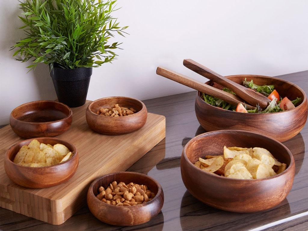 7pc Socorro Acacia Wood Salad Set Salad Serving Bowl 4 Small Bowls Server Set 5018705508504 Ebay