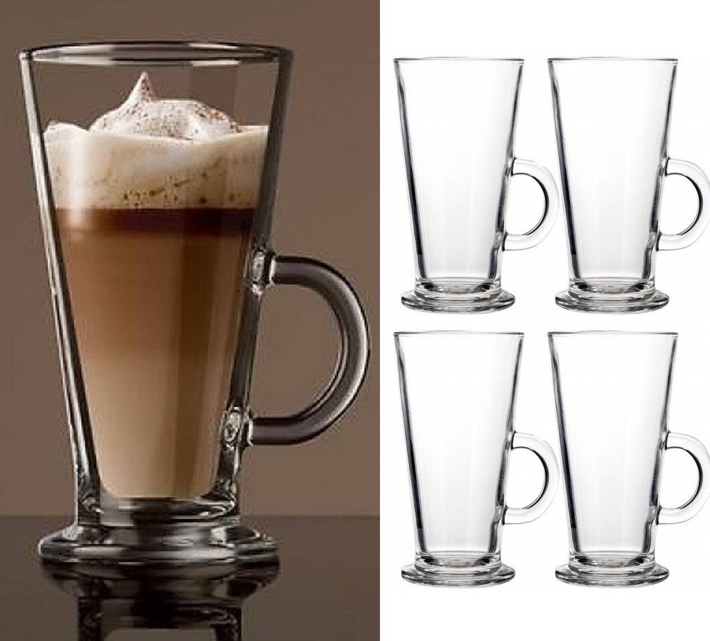Details about 4 x TALL LATTE GLASSES COFFEE MUG GLASS HANDLE CHOCOLATE CAPPUCCINO DRINK 250ml