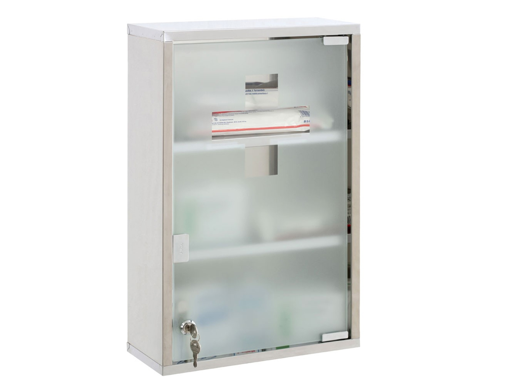 Medicine Cabinet Wall Mounted First Aid Lockable Glass
