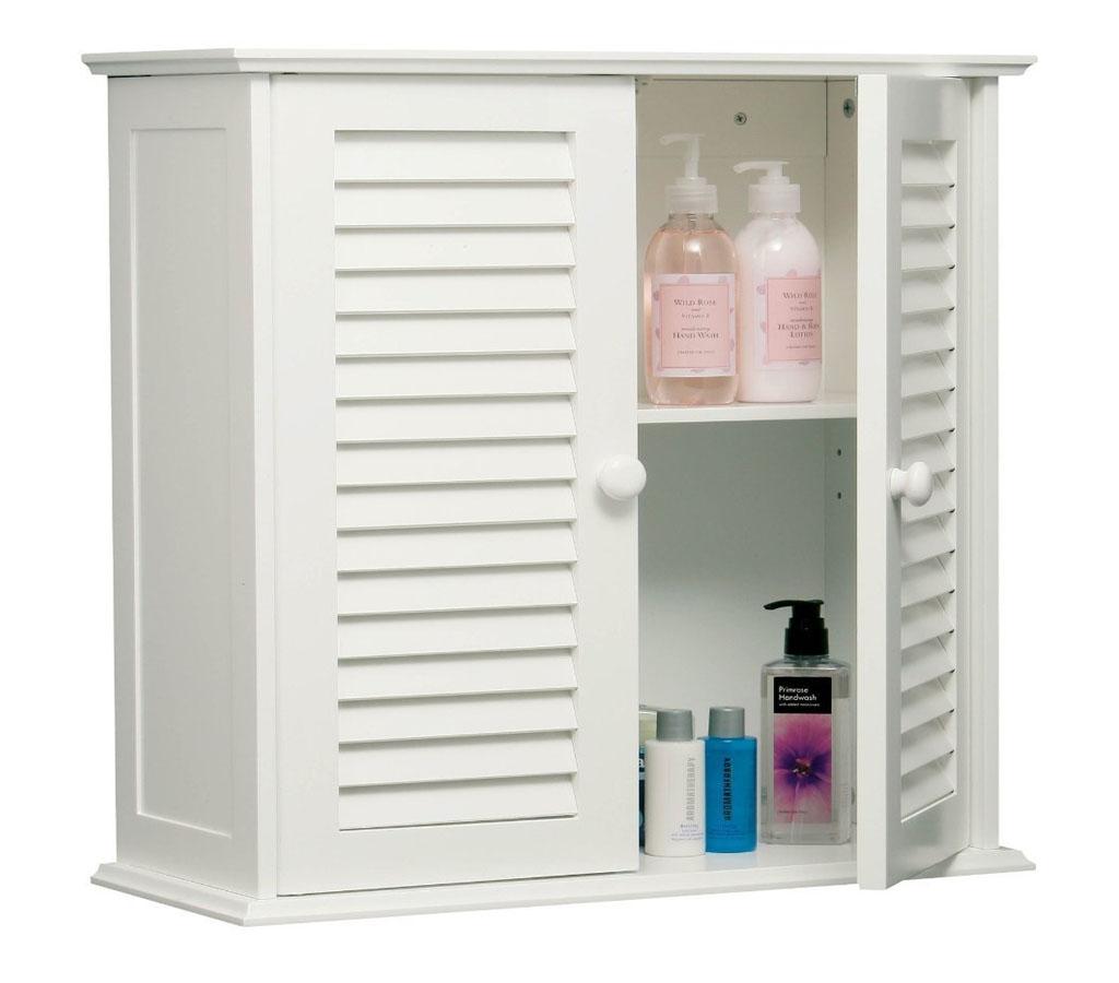 WHITE BATHROOM WALL CABINET DOUBLE SHUTTER SLATTED WOOD DOORS ...