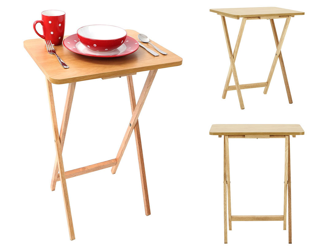 Wooden Folding Snack Table Tv Card Game Coffee Side Table