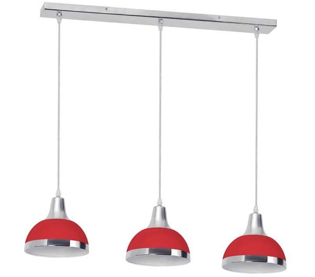 JASPER 3 SHADE BAR PENDANT LIGHT HANGING CHROME METAL