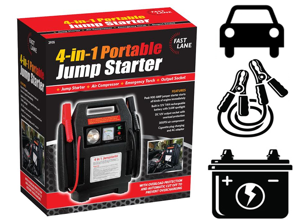 jump start battery 12v portable 4 in 1 car jump starter air compressor 11108