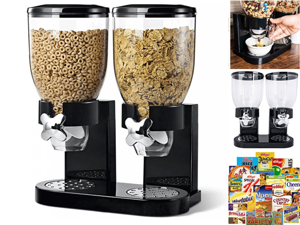 Double Cereal Dispenser Machine Black Plastic Storage Container Dry Food Rice 5055490624651 Ebay