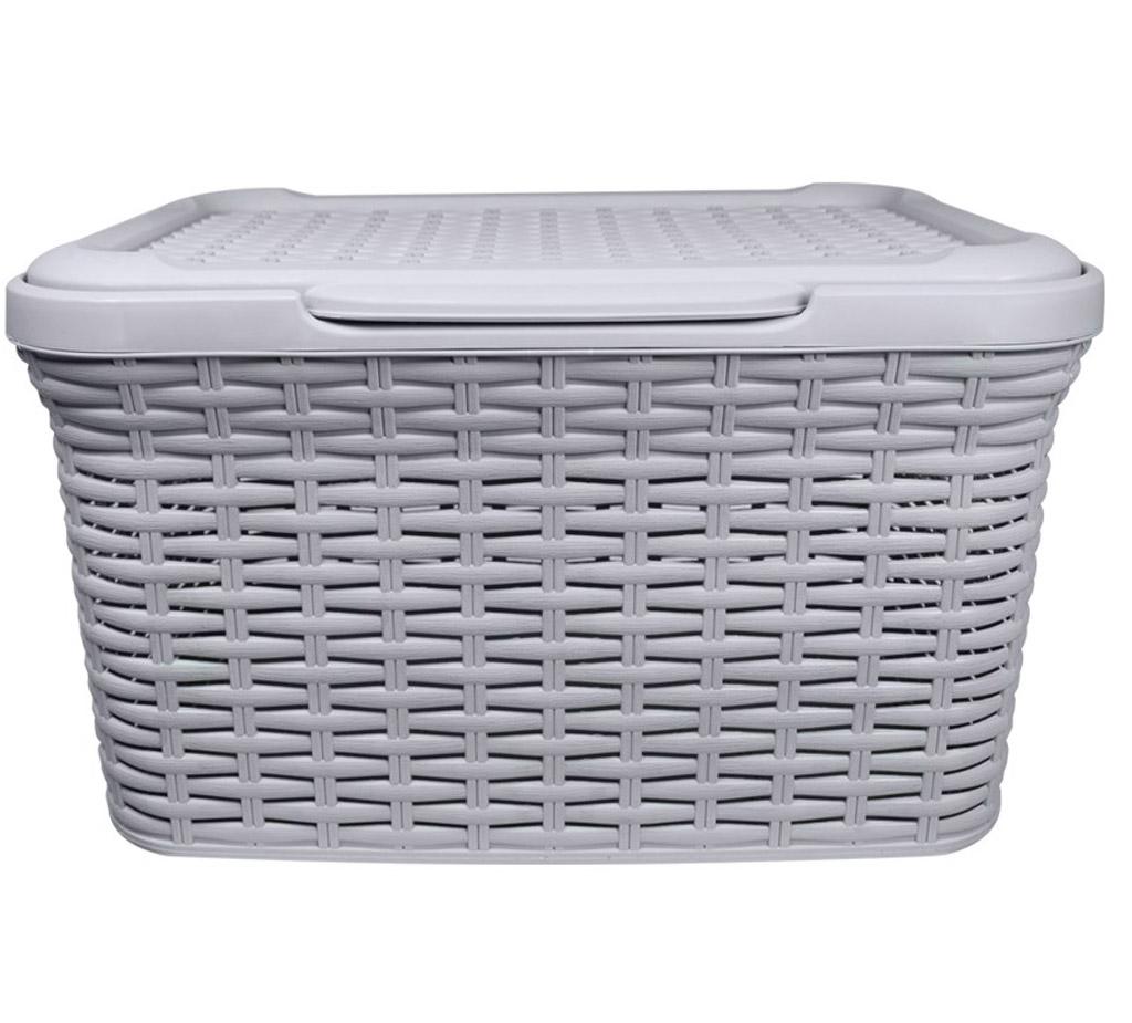 27l 50l Grey Plastic Faux Rattan Effect Laundry Storage