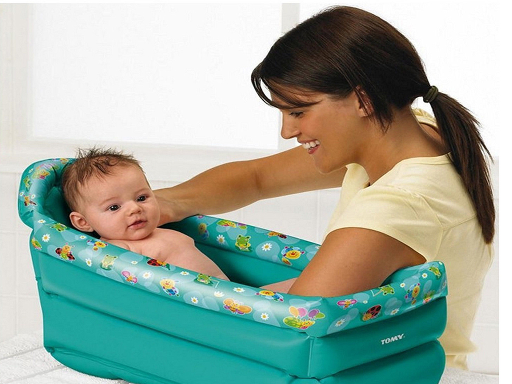 TOMY INFLATABLE TRAVEL BABY BATH SOFT TUB TODDLER INFANT PORTABLE ...