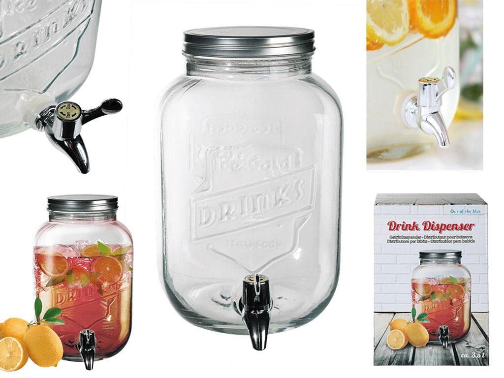 3 5l Glass Drink Dispenser Jar Cocktail Beverage Water