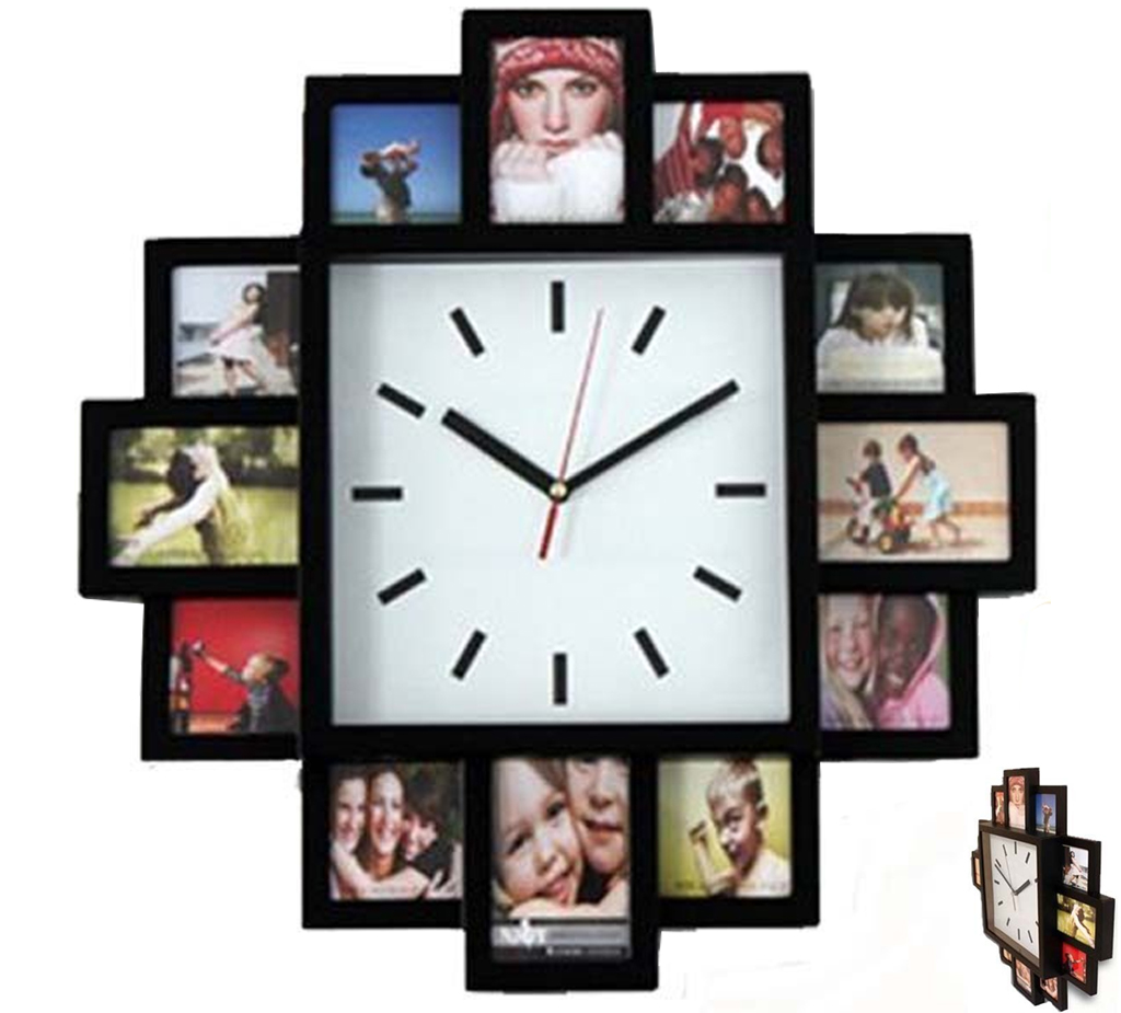 BLACK 12 MULTI PHOTO PICTURE WALL CLOCK APERTURE FRAME TIME COLLAGE ...