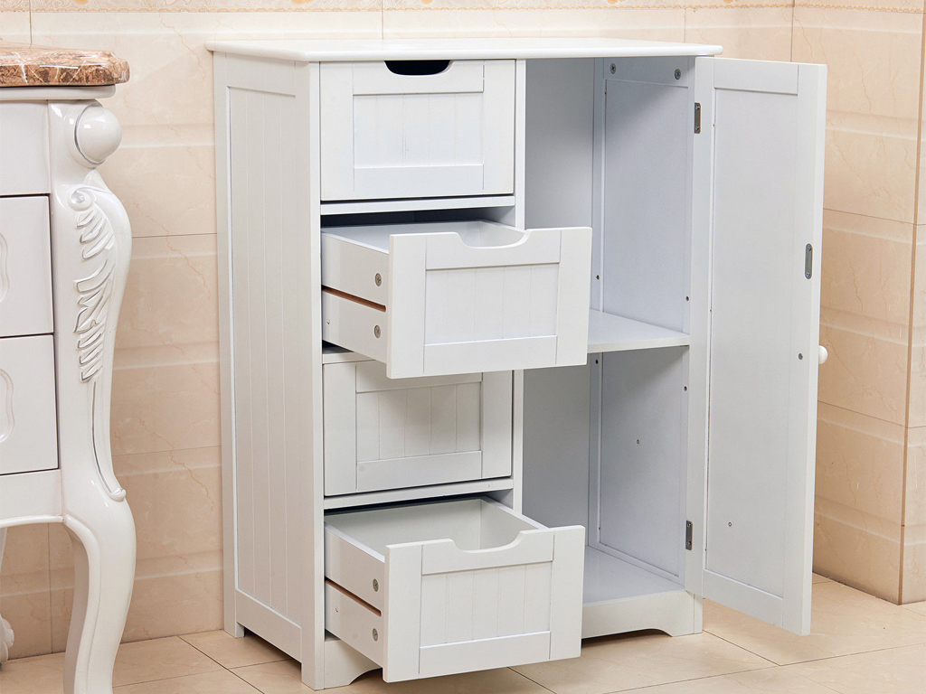 Livivo white wooden cabinet with 4 drawers cupboard floor for White wooden bathroom drawers