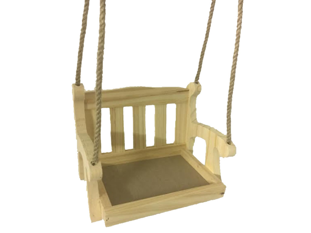 Wooden garden swing seat bird feeder hanging swinging tree Wood tree swing and hanging kit