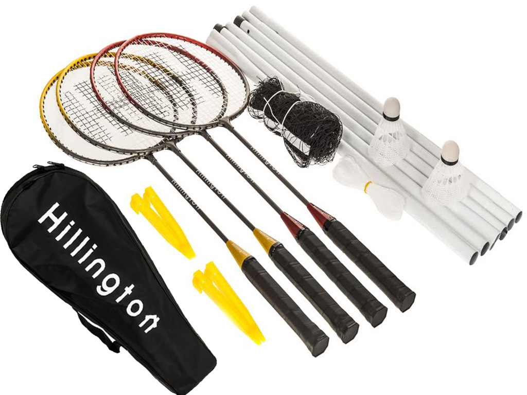 4 Player Professional Badminton Set 4 X Rackets 2 X Shuttlecocks