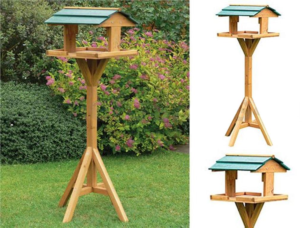 birds traditional itm feeding bird table station free standing wooden garden feeder