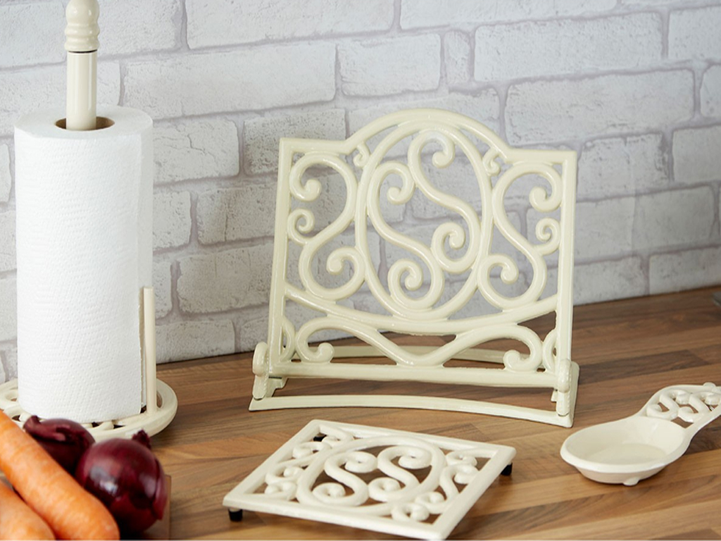 CREAM CAST IRON TRIVET MUG TREE KITCHEN ROLL HOLDER SPOON REST ...