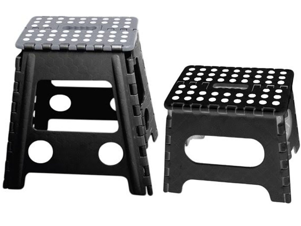 Black Folding Step Stool Plastic Multi Purpose Foldable