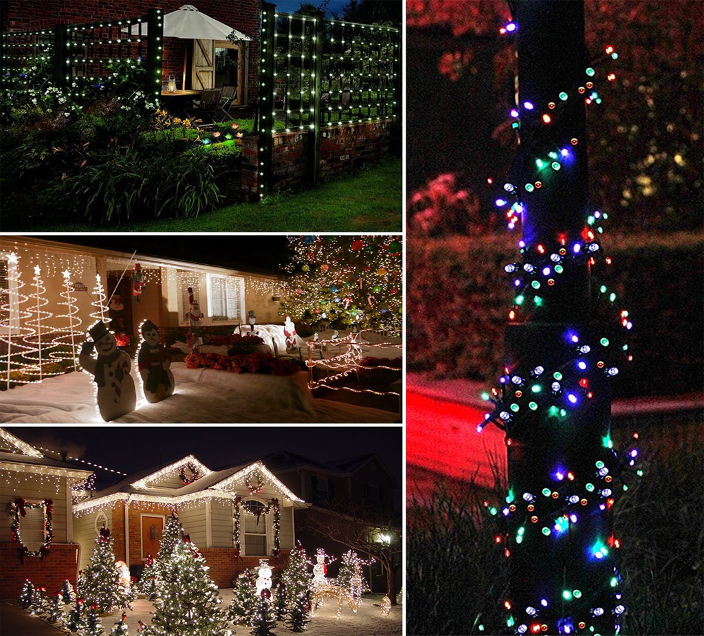 100 LED MULTI COLOURED SOLAR FAIRY STRING LIGHTS GARDEN OUTDOOR INDOOR 10.9M