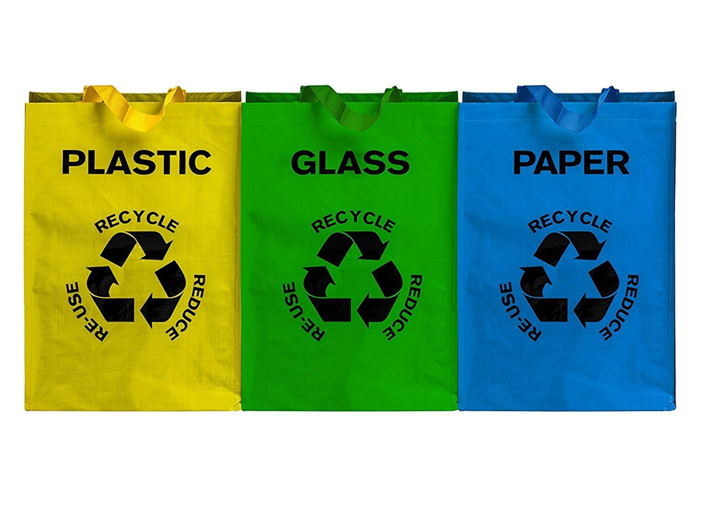3 X Colour Coded Recycling Bags With Handles Recycle Bag