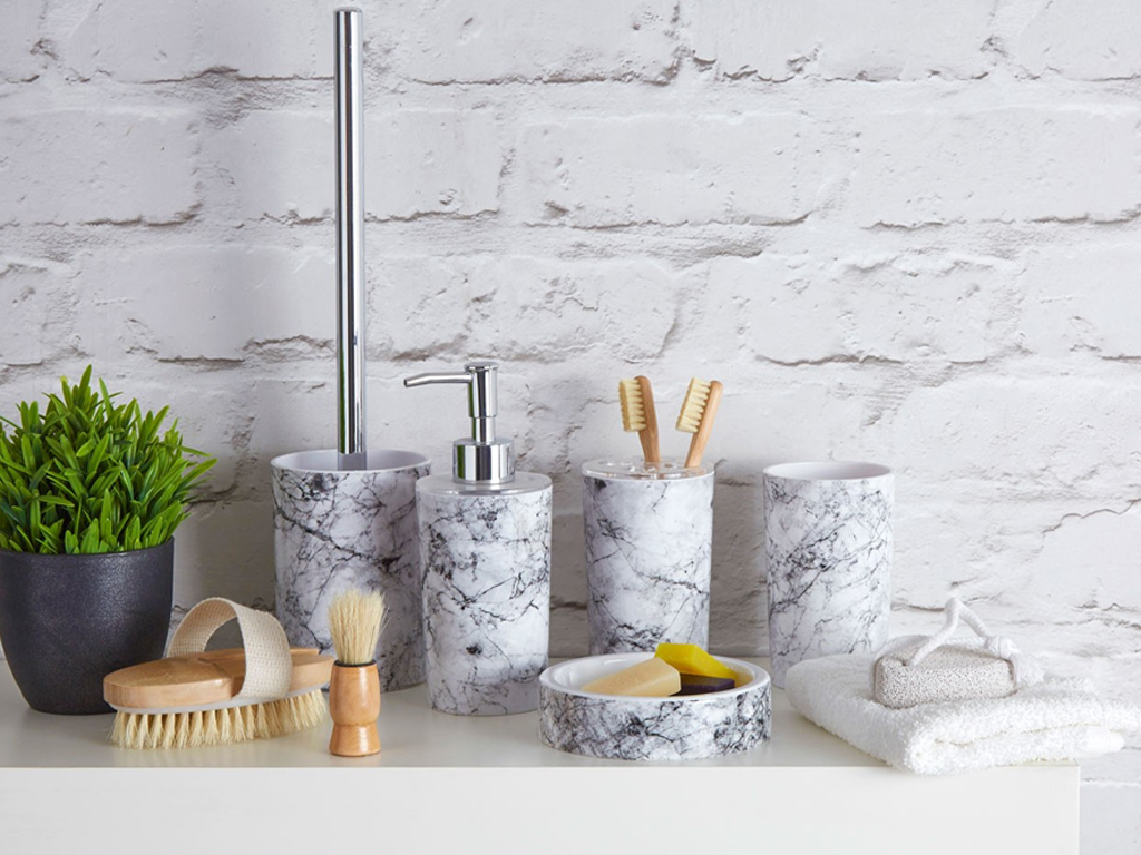 ROME GREY MARBLE EFFECT ABS PLASTIC BATHROOM ACCESSORY TUMBLER TOOTHPASTE SOAP